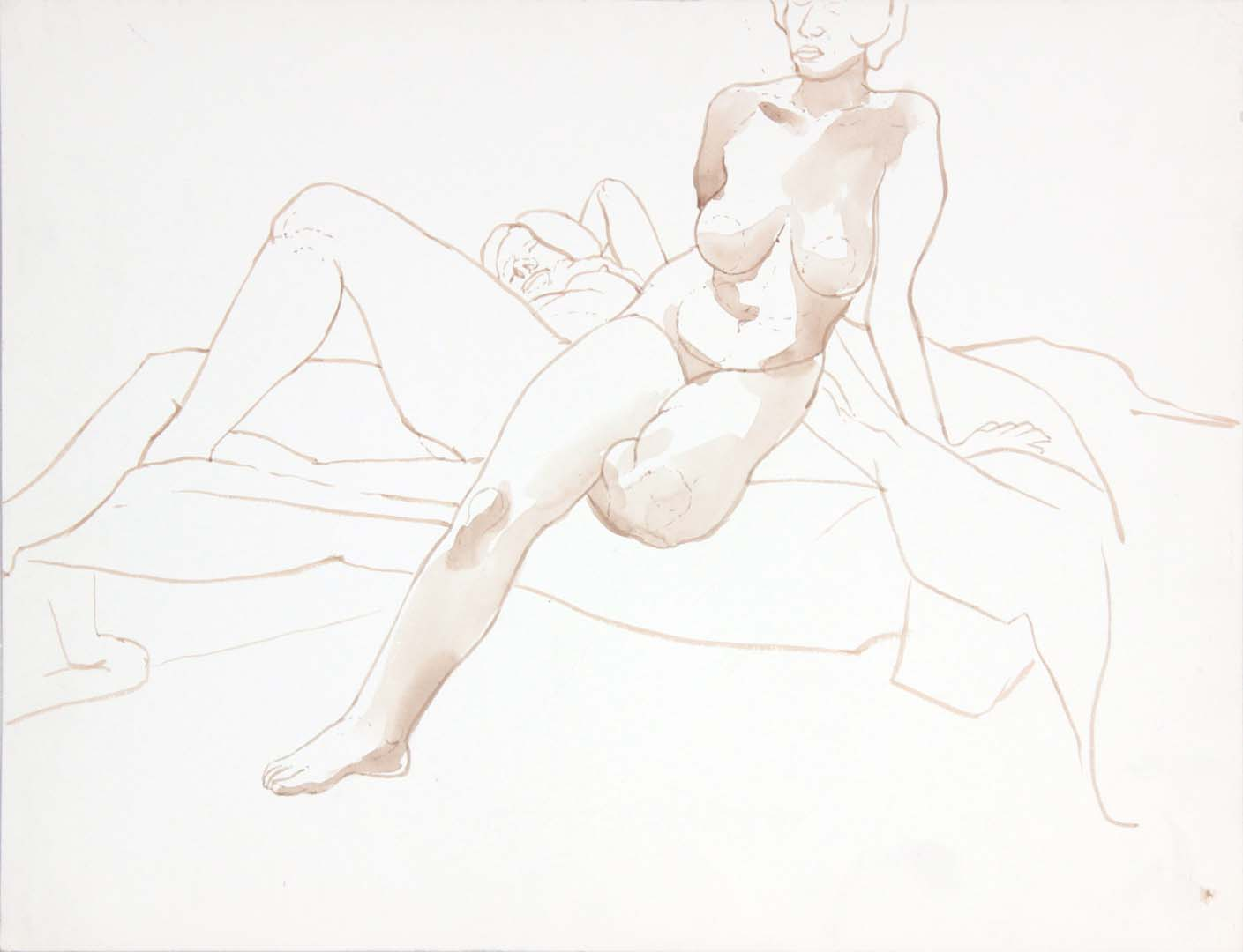 Seated Female Model in Front of Reclined Female Model Wash 17.375 x 22.875