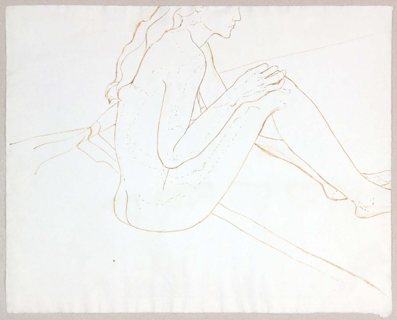 Seated Female Nude Wash 19 x 23.875