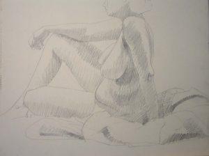 Seated Female Nude Pencil 18 x 24
