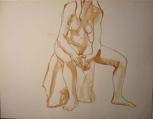 Seated Female Nude Leaning Forward Sepia 19.875 x 25.75