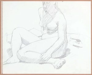 Seated Female in Studio Pencil 13.75 x 17