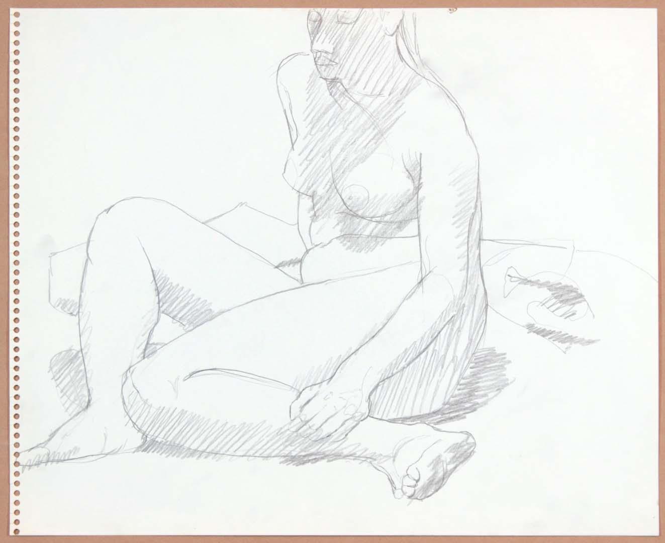 "Seated Female in Studio Pencil 13.75"" x 17"""