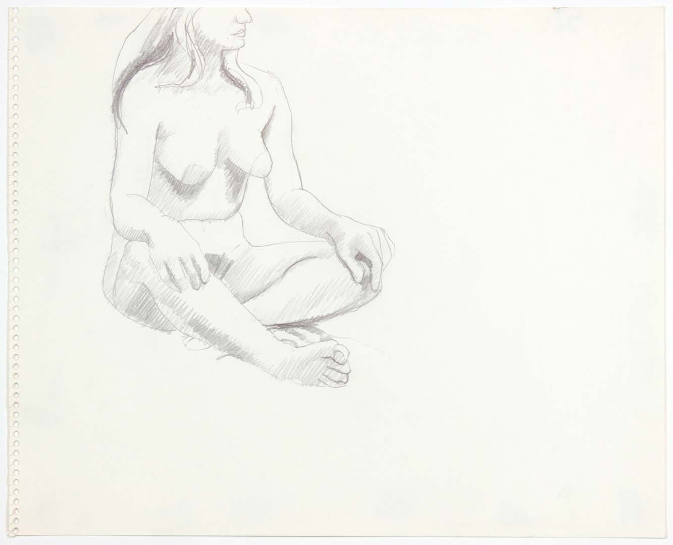 "Seated Female with Crossed Legs Pencil 13.75"" x 17"""