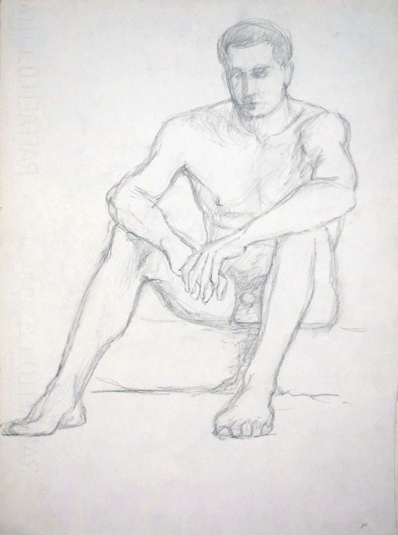 "Seated Male Model Pencil 13"" x 9.5"""