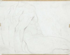Seated Male Model Leaning Backwards Pencil 8.375 x 10.875