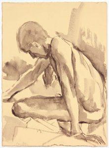 Seated Male Model Leaning Forward Ink Wash 13.75 x 9.875
