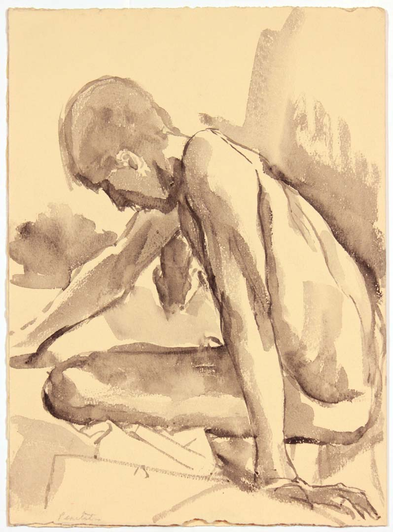 "Seated Male Model Leaning Forward Ink Wash 13.75"" x 9.875"""