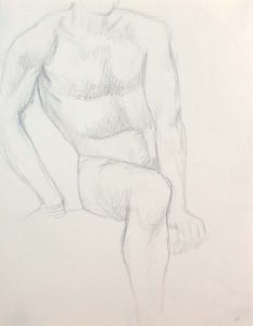 Seated Male Nude Pencil 12 x 9