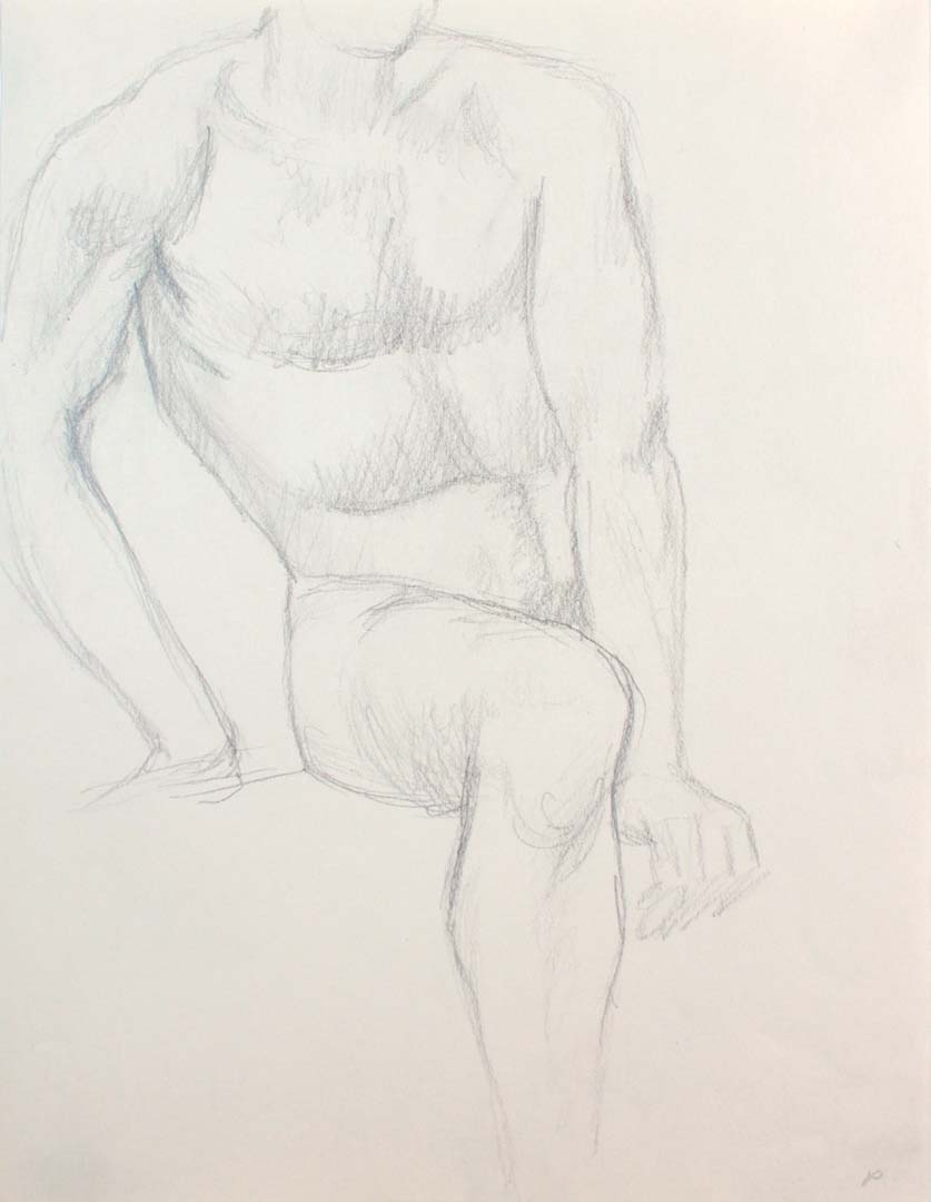 "Seated Male Nude Pencil 12"" x 9"""