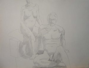 Seated Male and Female Models with Sofa Sepia 22 x 29.5