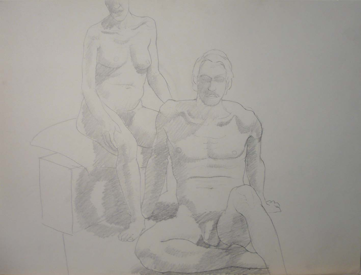 "Seated Male and Female Models with Sofa Sepia 22"" x 29.5"""