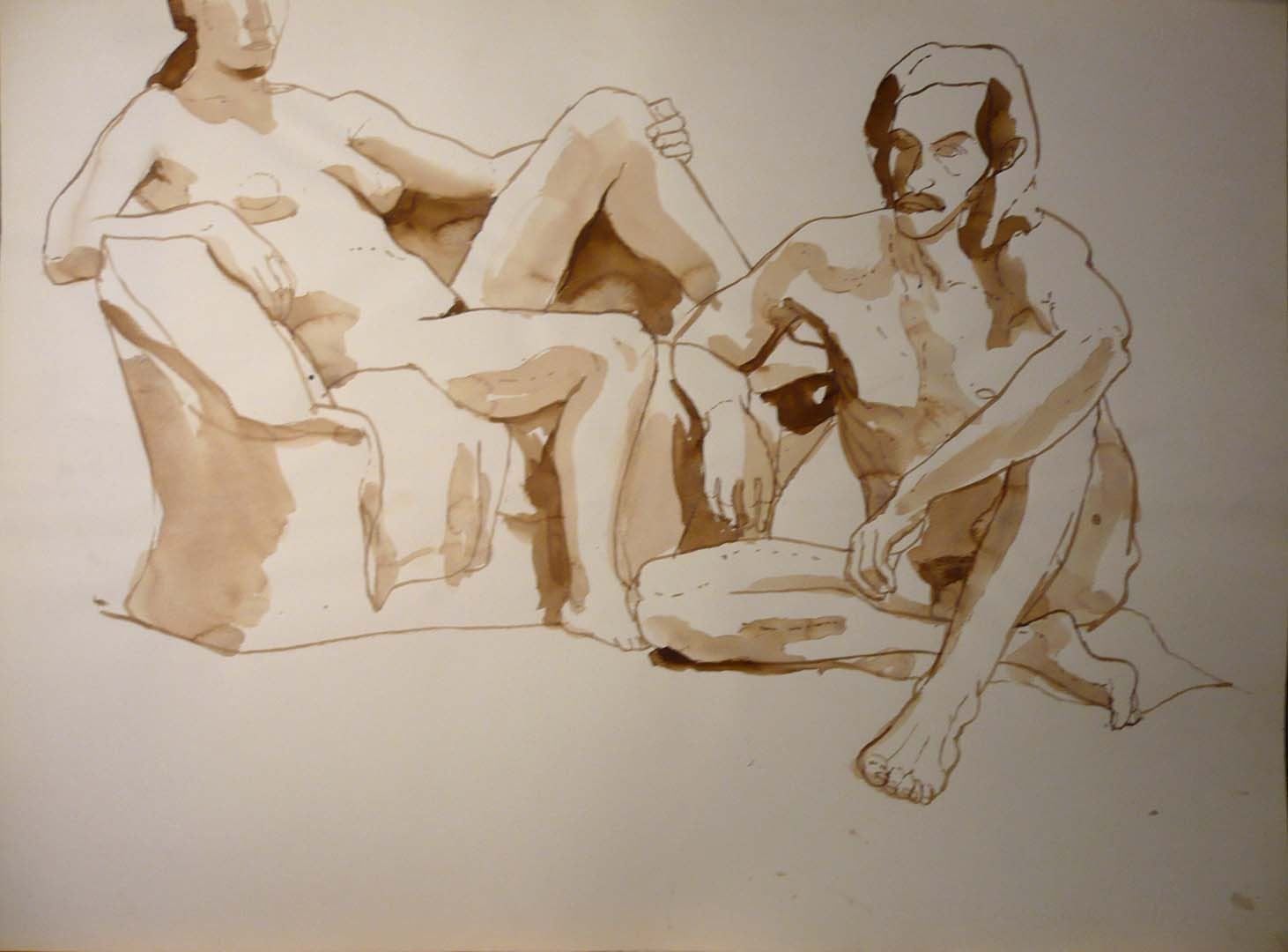 "Seated Male and Female Models Pencil 18"" x 23.875"""