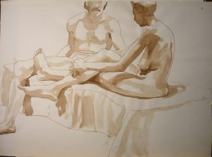 Seated Male and Female Nudes Sepia 22 x 29.875