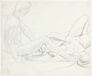 Seated Male and Female Reclined Pencil 14 x 17