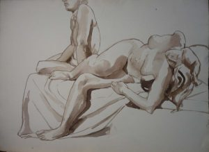 Seated Male and Reclining Female Sepia 22.25 x 29.875
