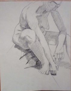 Seated Model Leaning Forward Pencil 14 x 11