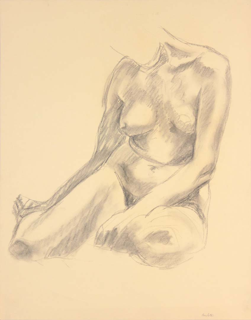 "Seated Model with Legs Bent Backwards Graphite 24"" x 19"""