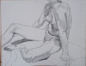 Seated Model with Right Leg Extended Pencil 11 x 14
