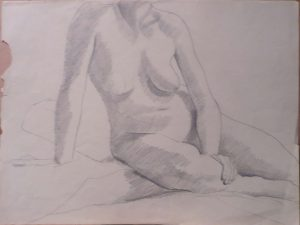 Seated Nude Pencil 16.25 x 21.75