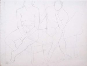 Seated Nudes on Bed Pencil 16 x 24