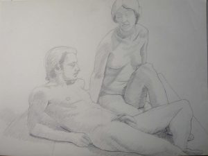 Sitting Female and Reclining Male Nude Pencil 18 x 24