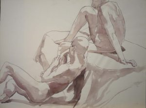 Sitting Male and Female Nudes Sepia 22.25 x 29.875