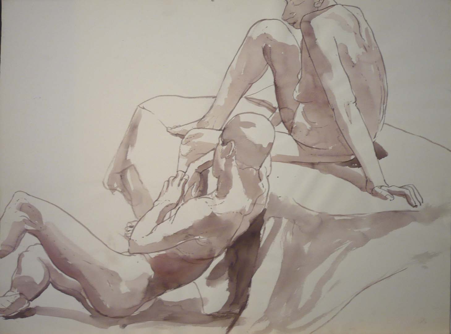 "Sitting Male and Female Nudes Sepia 22.25"" x 29.875"""