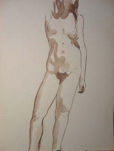 Standing Female Sepia 22.875 x 17.375