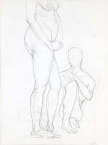 Standing Female Figure and Seated Male Figure Graphite 20 x 14.875