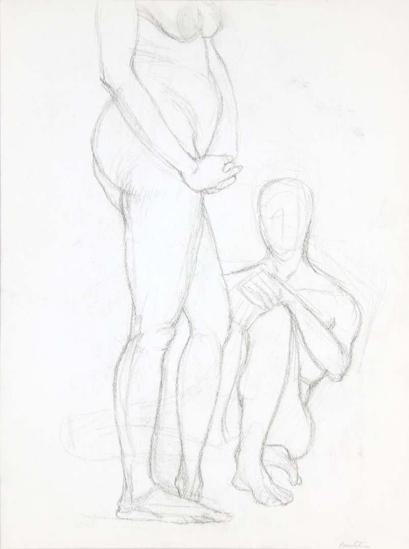 "Standing Female Figure and Seated Male Figure Graphite 20"" x 14.875"""