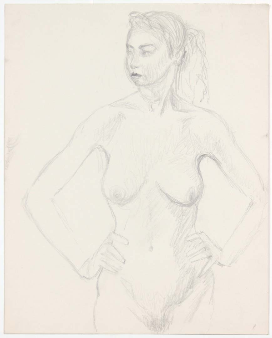 "Standing Female Model with Hands on Hip Pencil 13.875"" x 10.875"""