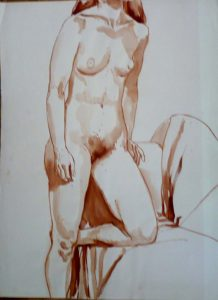 Standing Female Model with Left Leg Resting on Sofa Sepia 29.875 x 22