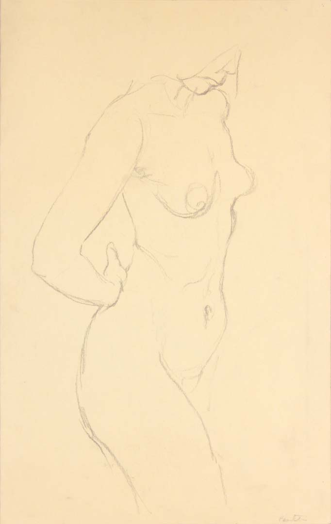 Standing Female Nude Graphite 19 x 12