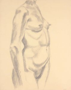 Standing Female Nude Graphite 24 x 19