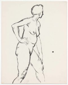 Standing Female Nude with Right Hand on Hip Ink 13.875 x 10.875