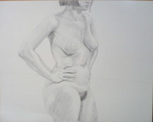 Standing Female with Hands on Hip Pencil 19 x 24