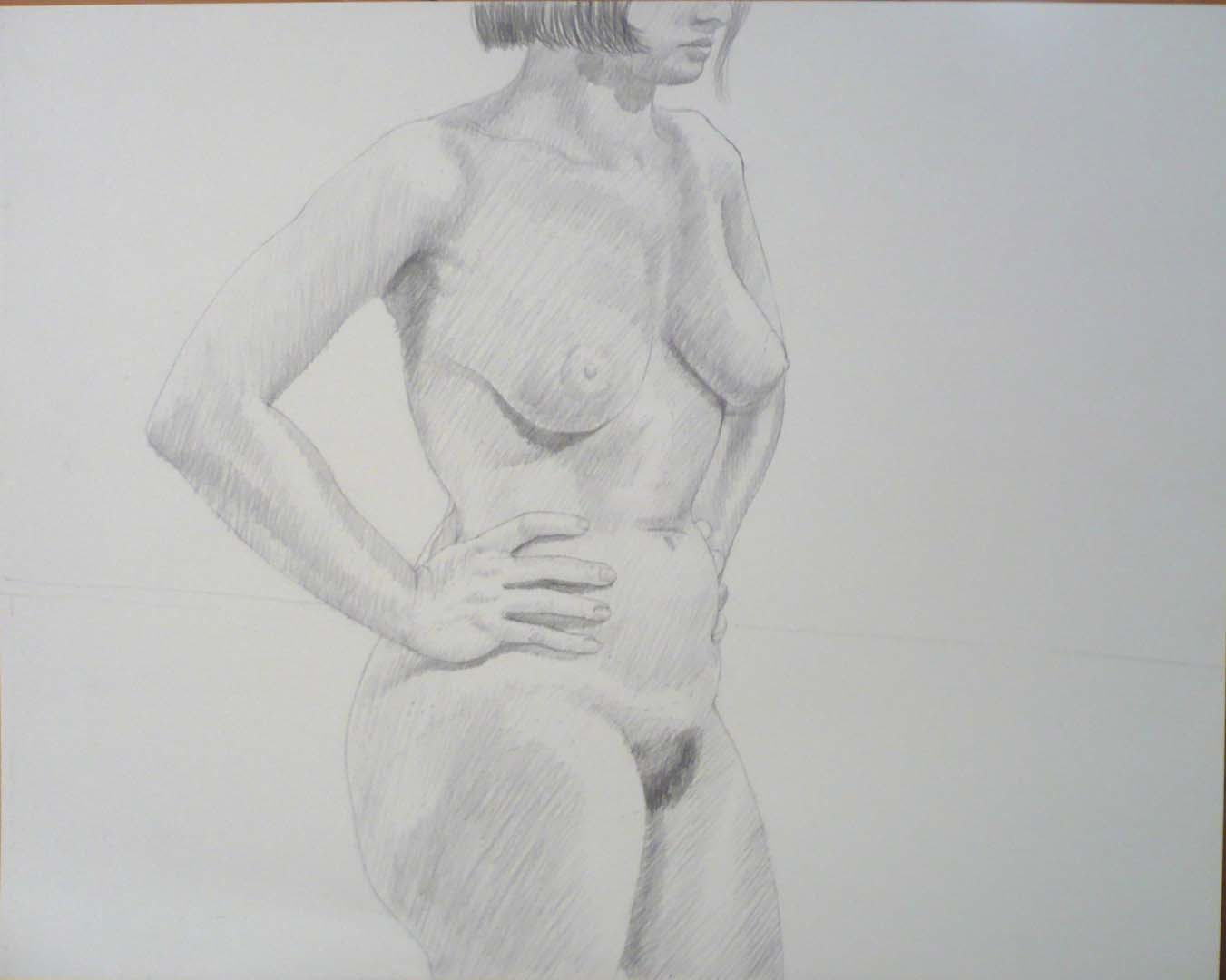 "Standing Female with Hands on Hip Pencil 19"" x 24"""