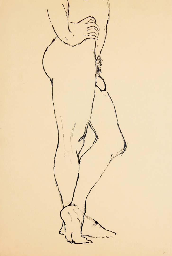 "Standing Male Model with Legs Crossed Ink 17.875"" x 12"""