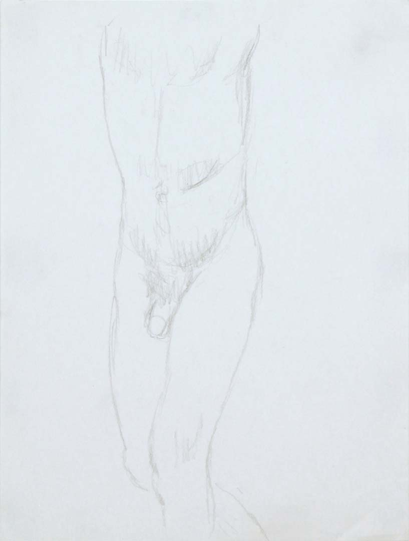 "Standing Male Nude Pencil 12"" x 9"""