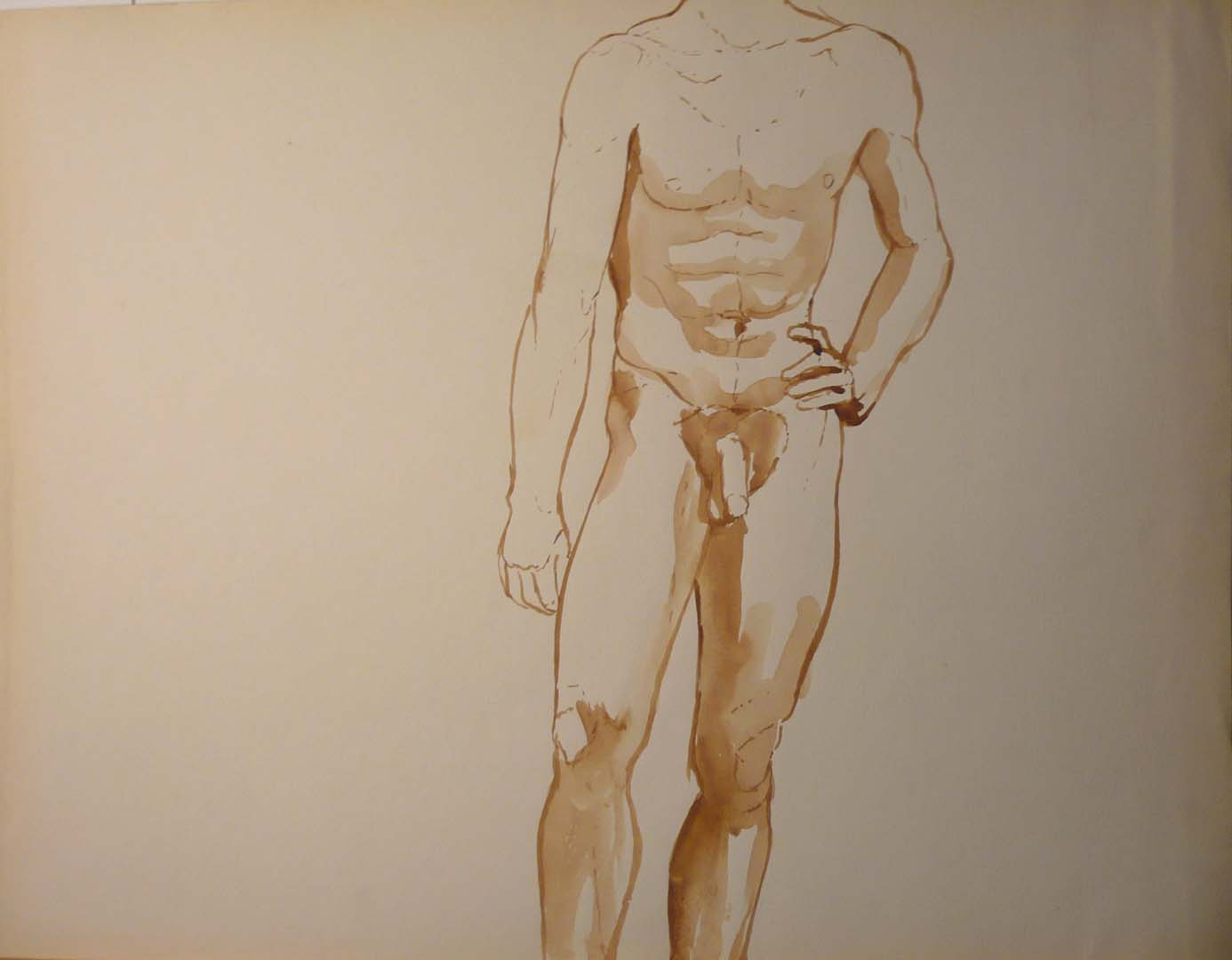 Standing Male Nude Sepia 19.875 x 25.75
