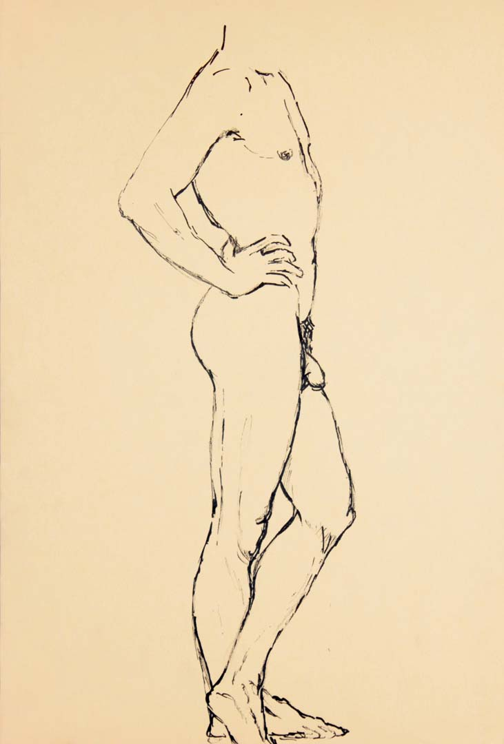"Standing Male Nude (Side) Ink 17.875"" x 12"""