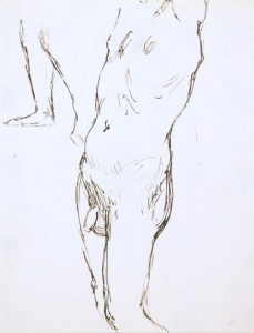 Standing Male Nude #3 Ink 12 x 9