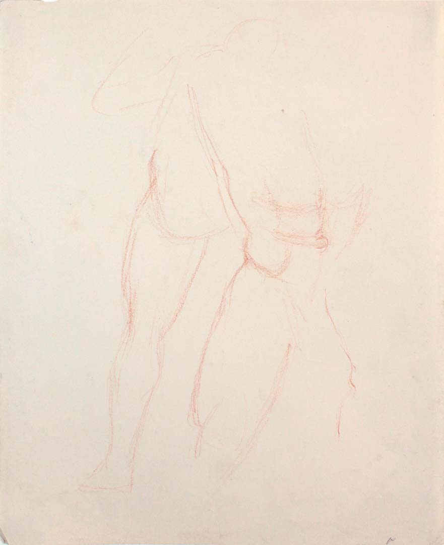 Standing Male Nudes Conte Crayon 11 x 8.5