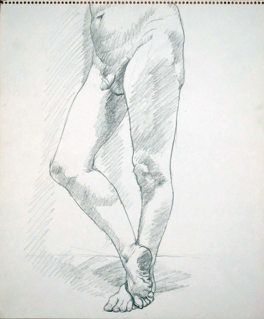 Standing Male Nude with Leg Crossed Pencil 17 x 14