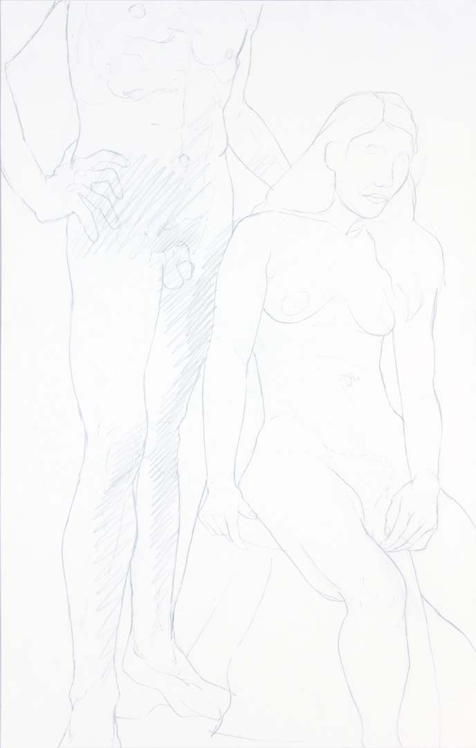 "Standing Male and Seated Female Graphite 22"" x 14"""