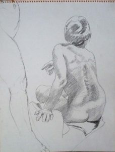 Standing Model's Leg and Back of Seated Model Pencil 14 x 11
