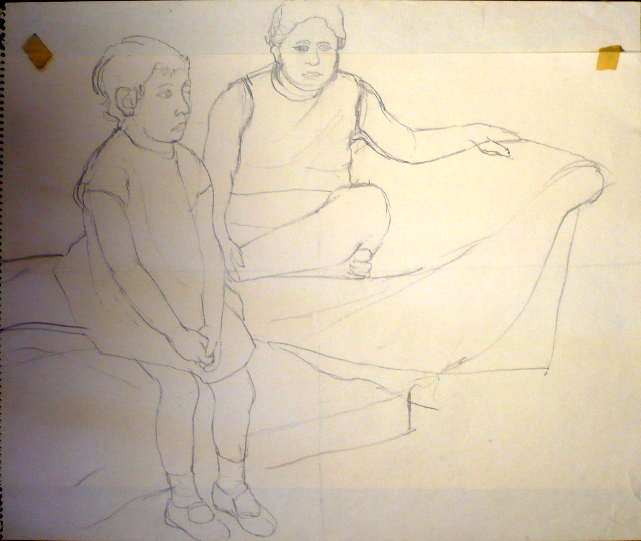 "Study for Portrait of the Artist's Daughters Pencil 17.875"" x 23.875"""