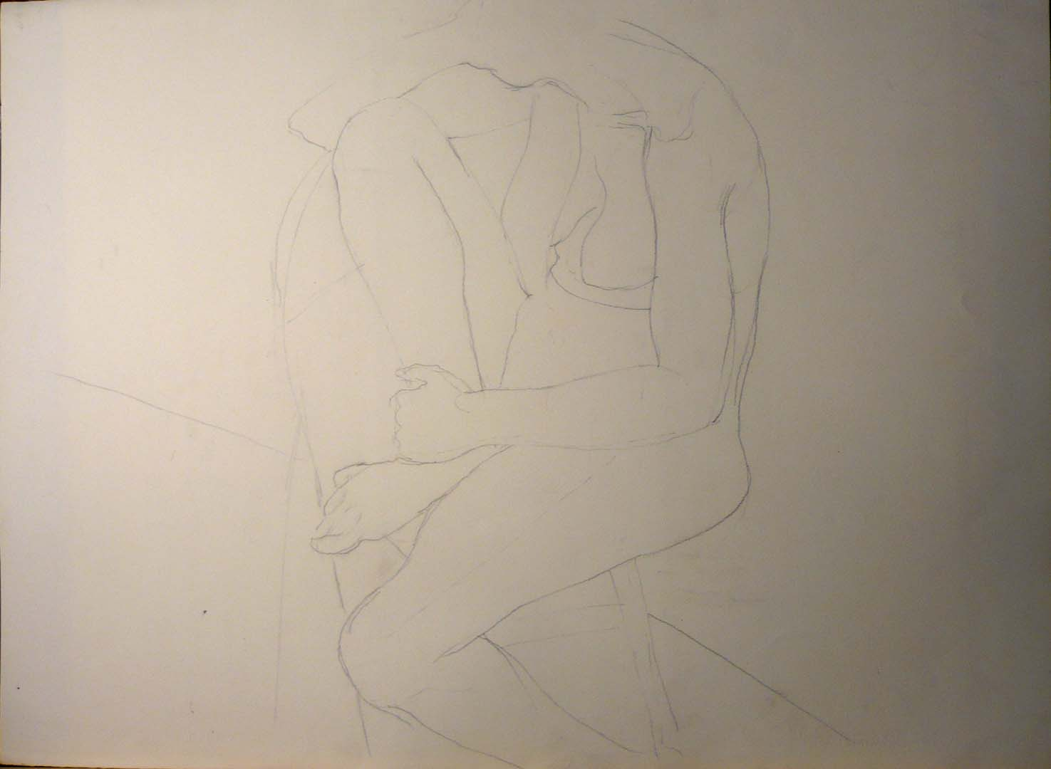 Study for figure on folding chair