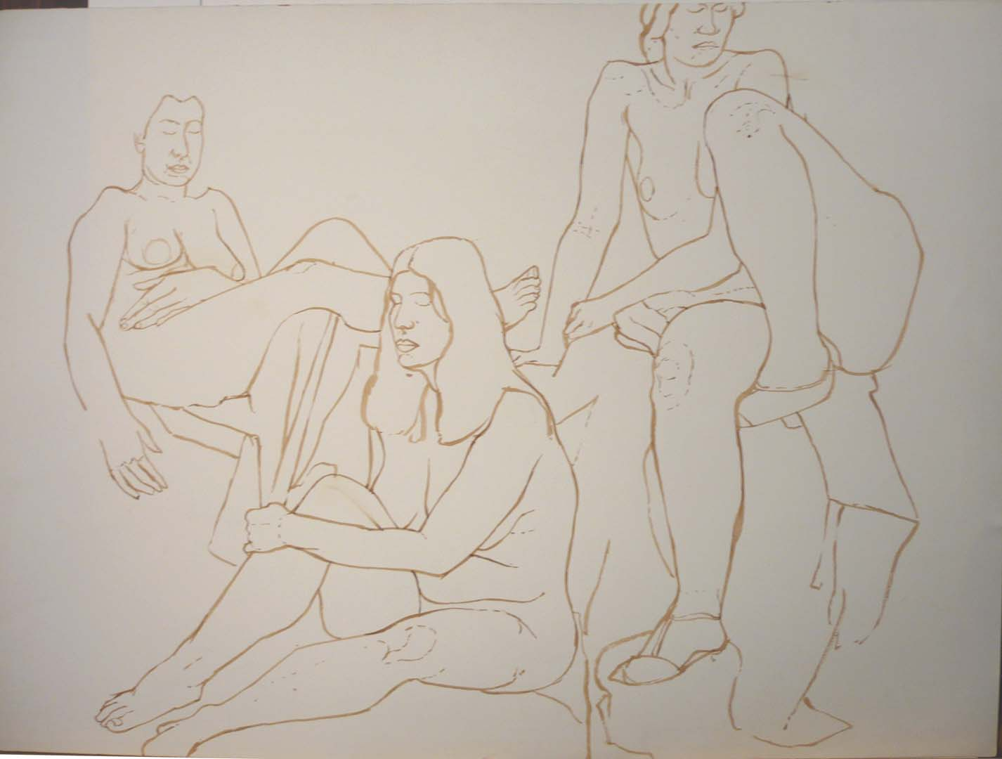 Three Sitting Nudes Sepia 22 x 30