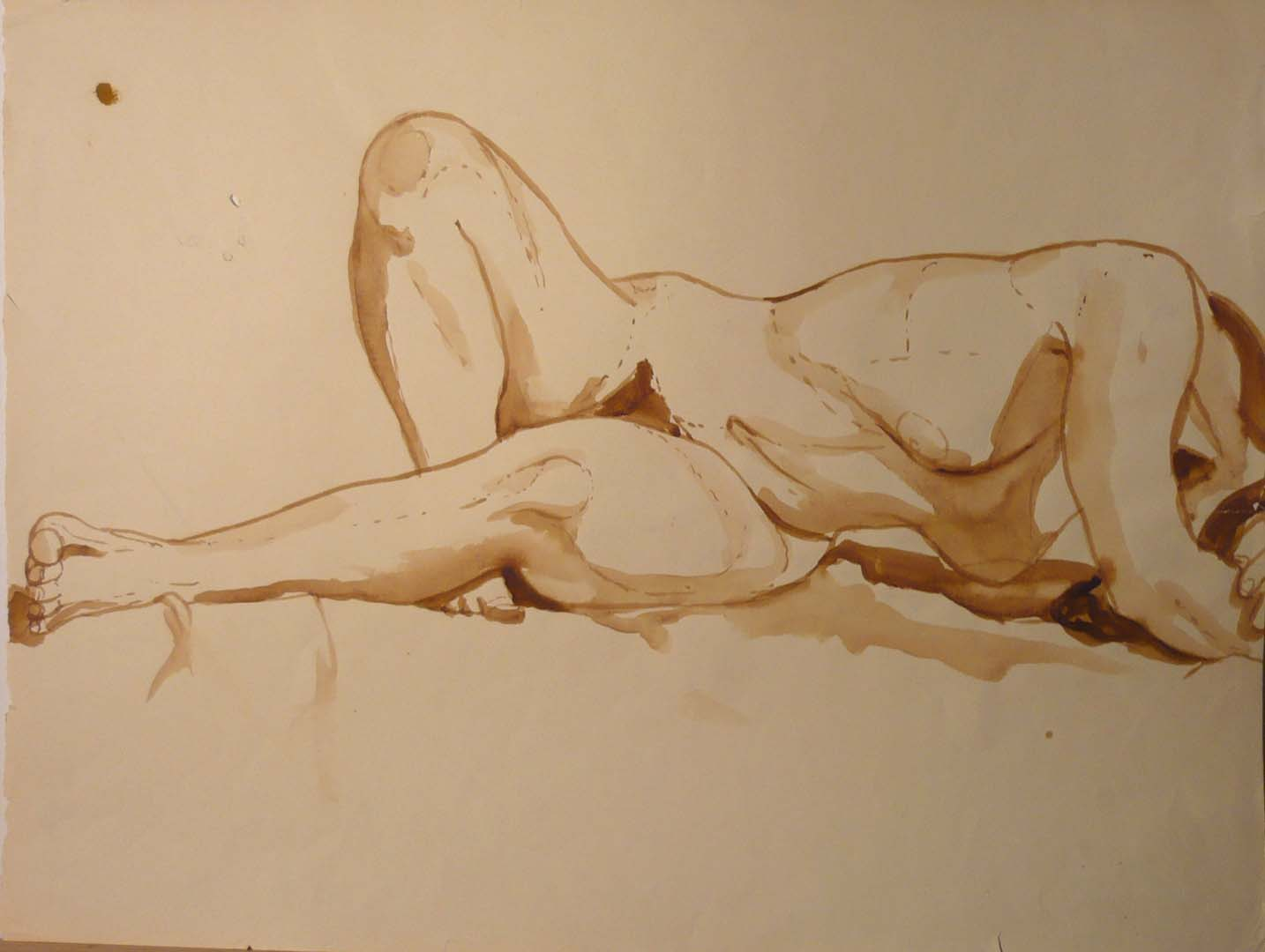 "Twisted Nude Reclining Sepia 16.25"" x 21.625"""